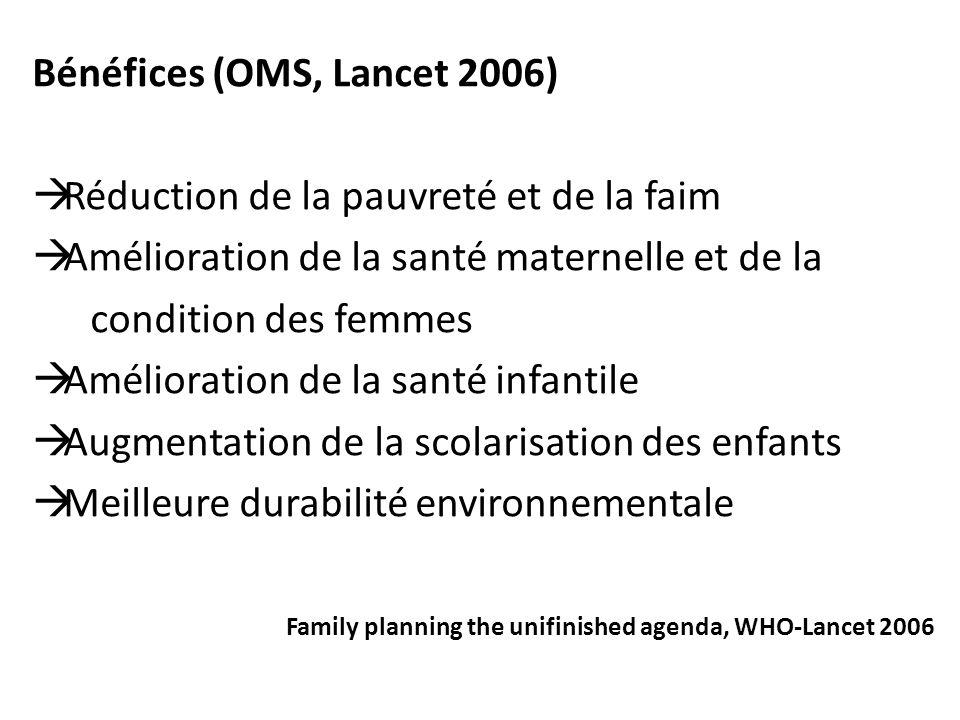 Bénéfices (OMS, Lancet 2006) Réduction de la pauvreté et de la faim
