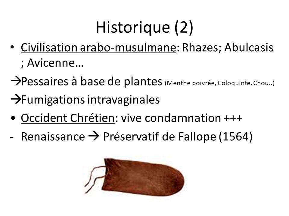 Historique (2) Civilisation arabo-musulmane: Rhazes; Abulcasis ; Avicenne… Pessaires à base de plantes (Menthe poivrée, Coloquinte, Chou..)