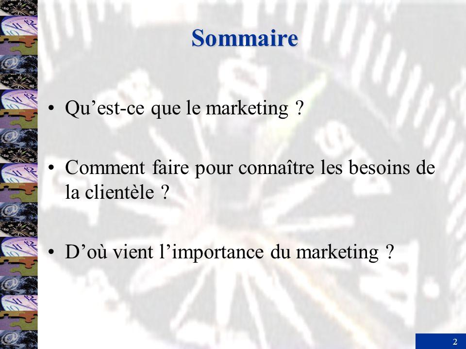 Sommaire Qu'est-ce que le marketing