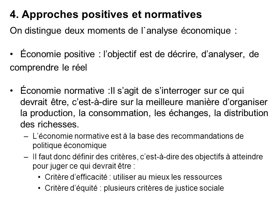 4. Approches positives et normatives