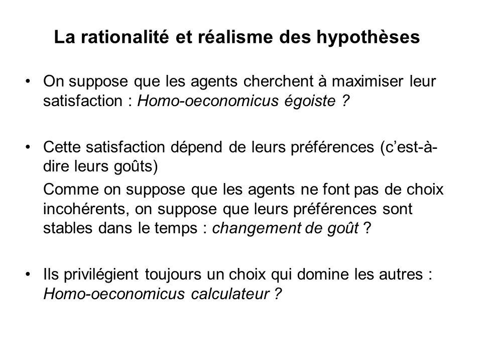 La rationalité et réalisme des hypothèses