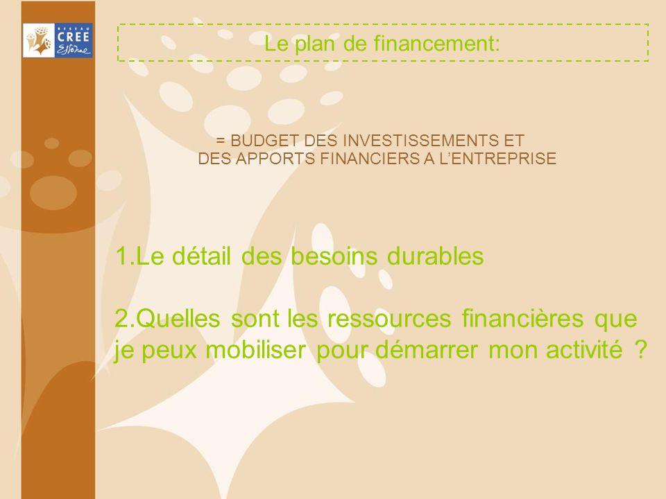 Le plan de financement: