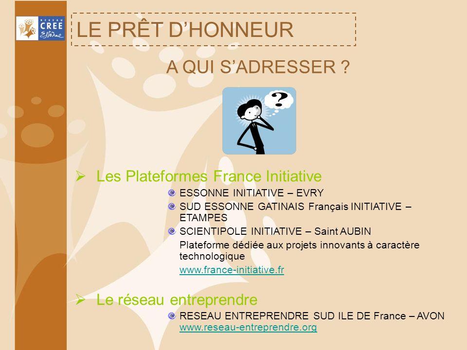 LE PRÊT D'HONNEUR A QUI S'ADRESSER Les Plateformes France Initiative
