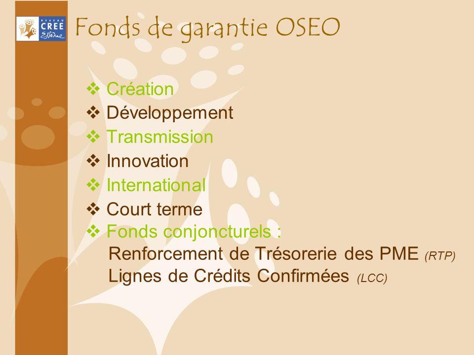 Fonds de garantie OSEO Création Développement Transmission Innovation