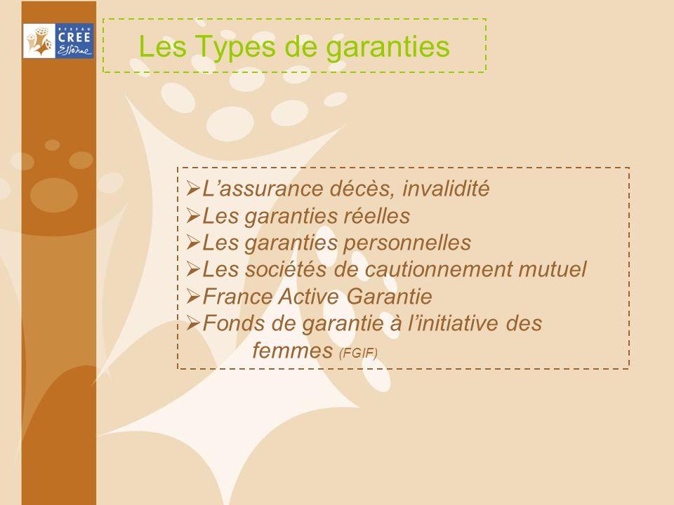 Les Types de garanties L'assurance décès, invalidité