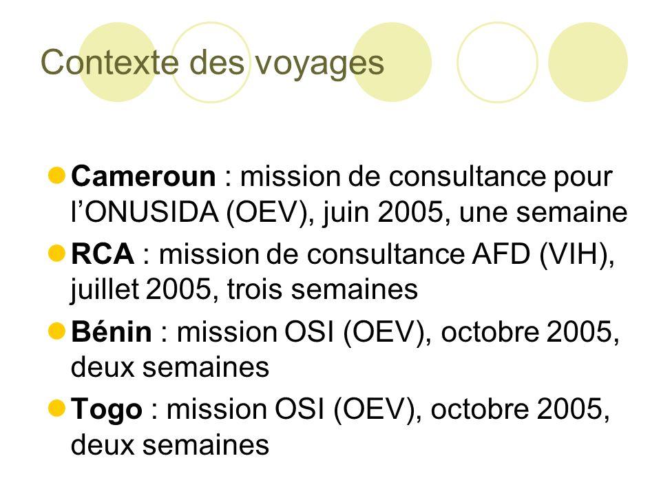 Contexte des voyages Cameroun : mission de consultance pour l'ONUSIDA (OEV), juin 2005, une semaine.