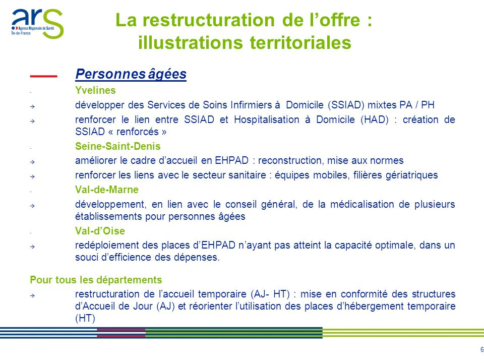 La restructuration de l'offre : illustrations territoriales