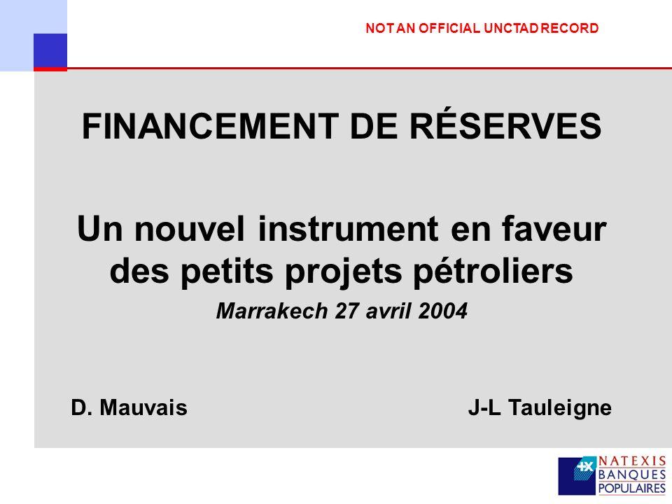 FINANCEMENT DE RÉSERVES