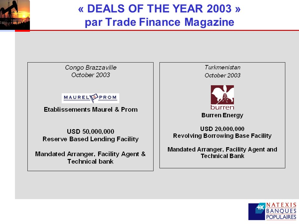 « DEALS OF THE YEAR 2003 » par Trade Finance Magazine