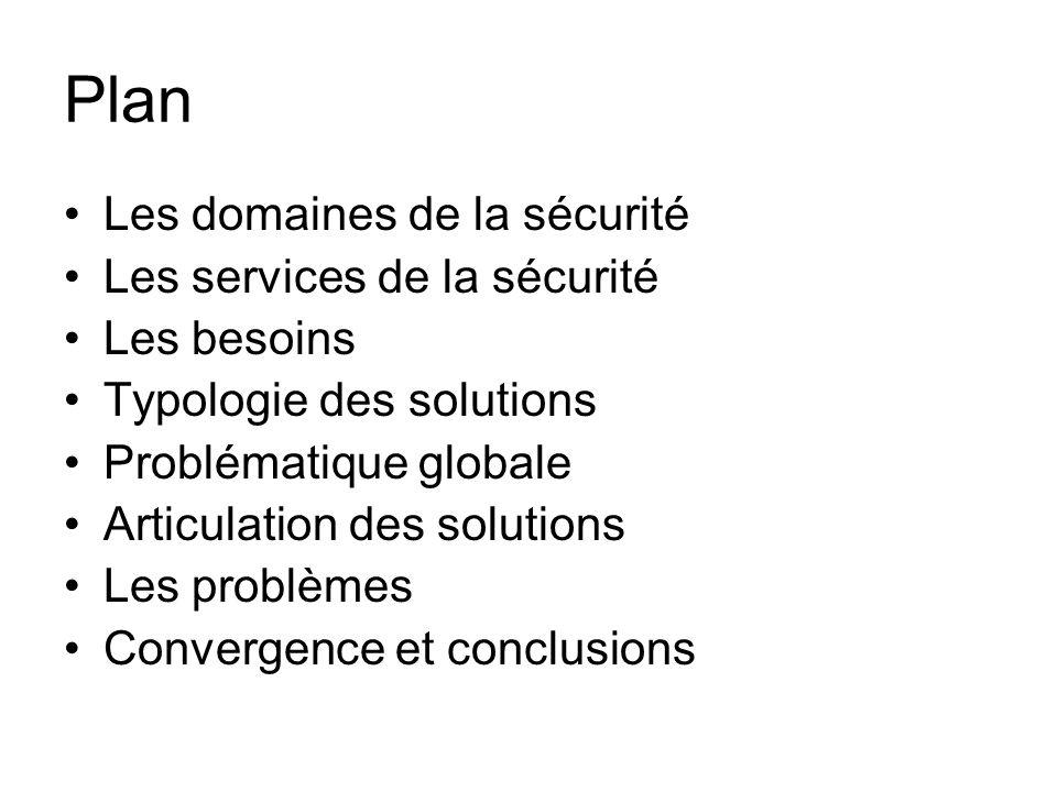 Plan Les domaines de la sécurité Les services de la sécurité