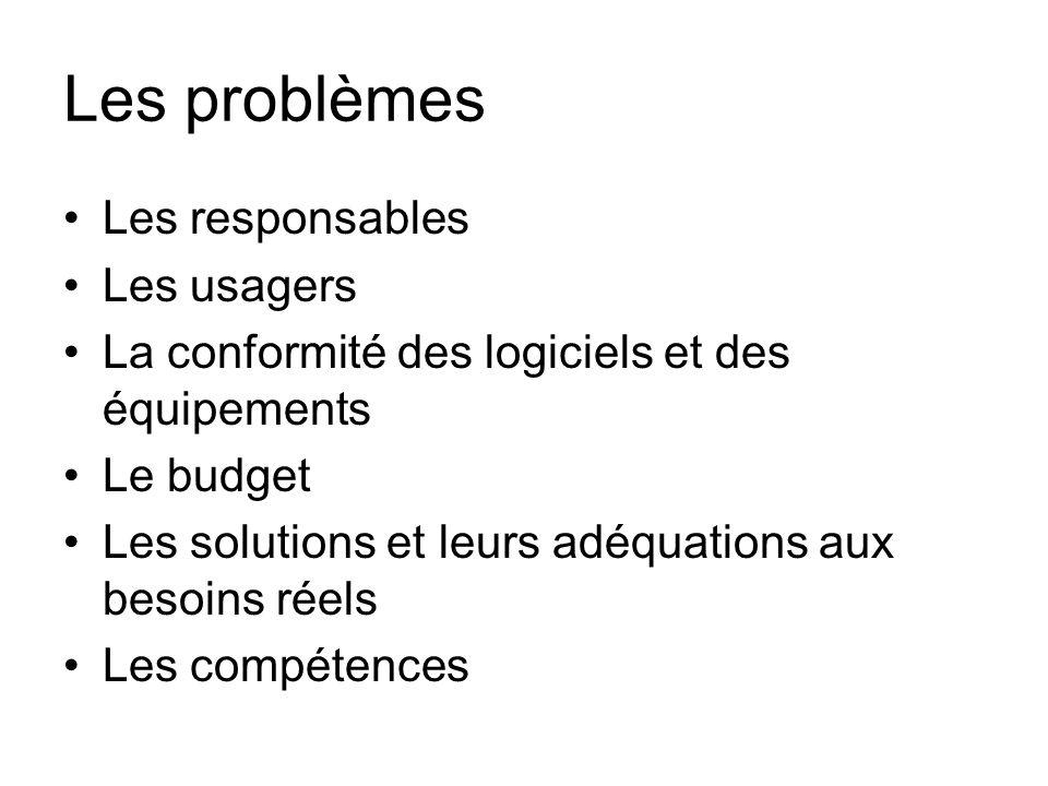 Les problèmes Les responsables Les usagers