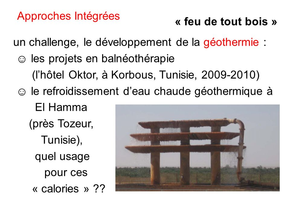 Approches Intégrées « feu de tout bois » un challenge, le développement de la géothermie : ☺ les projets en balnéothérapie.