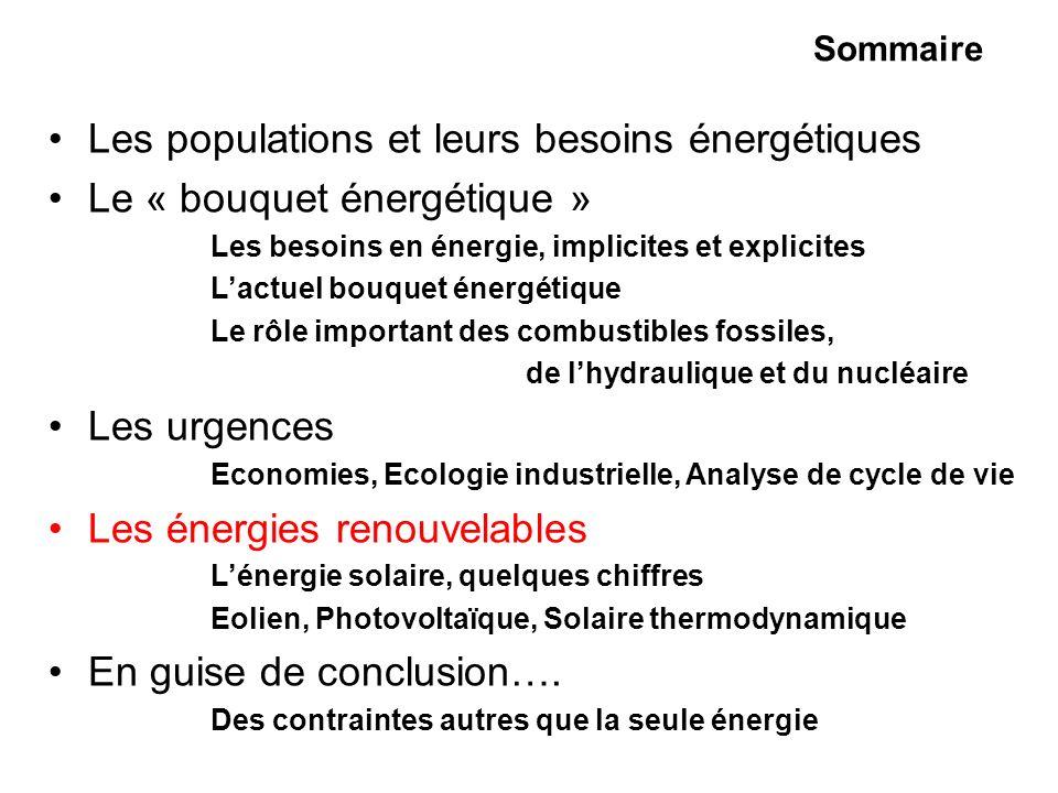 Les populations et leurs besoins énergétiques