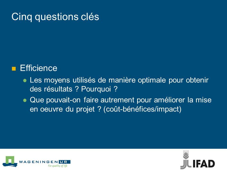 Cinq questions clés Efficience