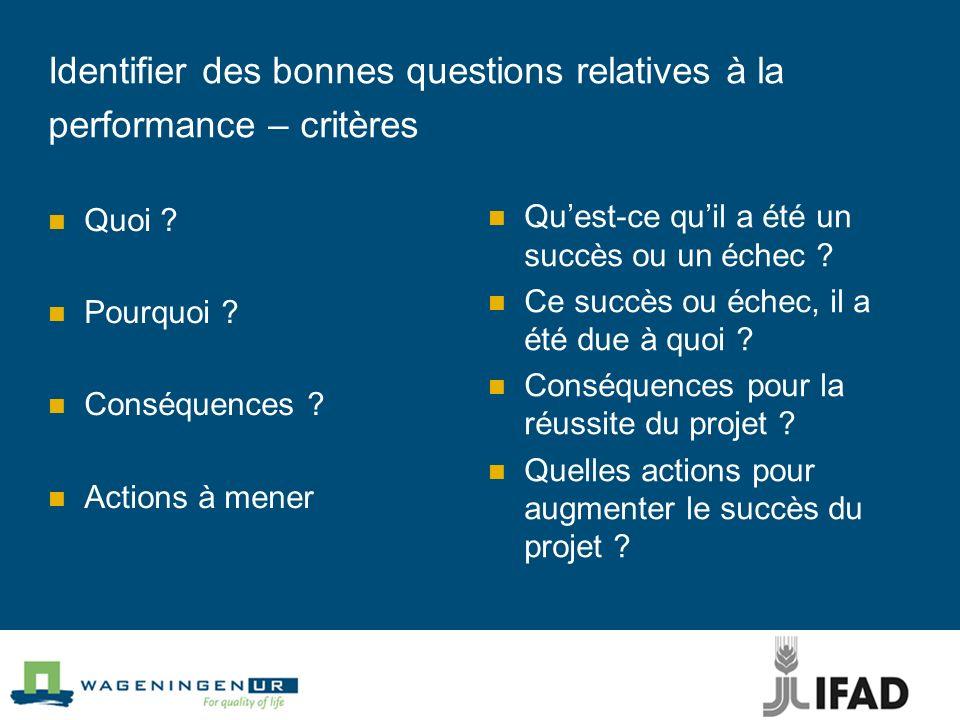 Identifier des bonnes questions relatives à la performance – critères