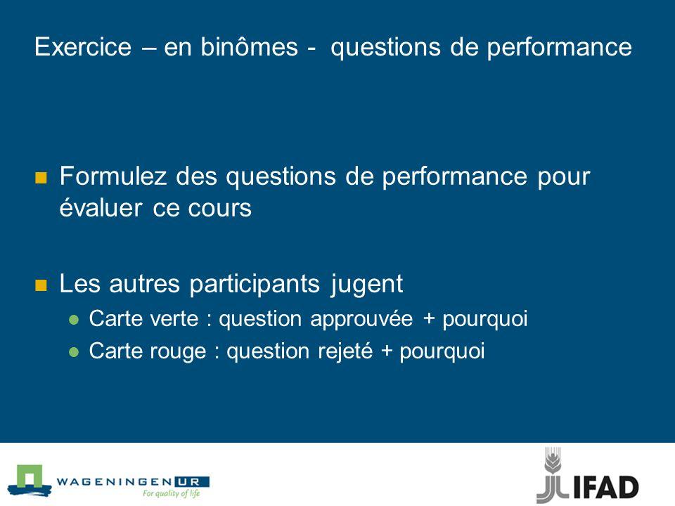 Exercice – en binômes - questions de performance