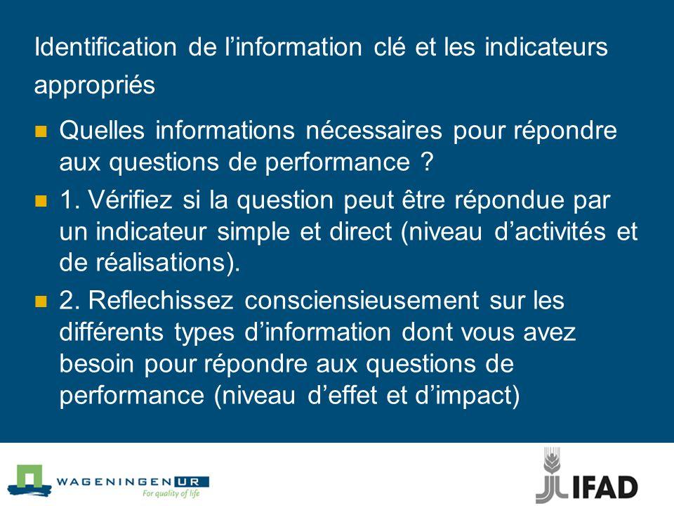 Identification de l'information clé et les indicateurs appropriés