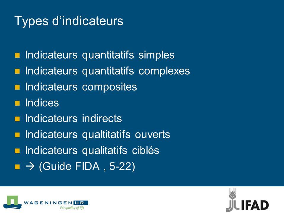 Types d'indicateurs Indicateurs quantitatifs simples