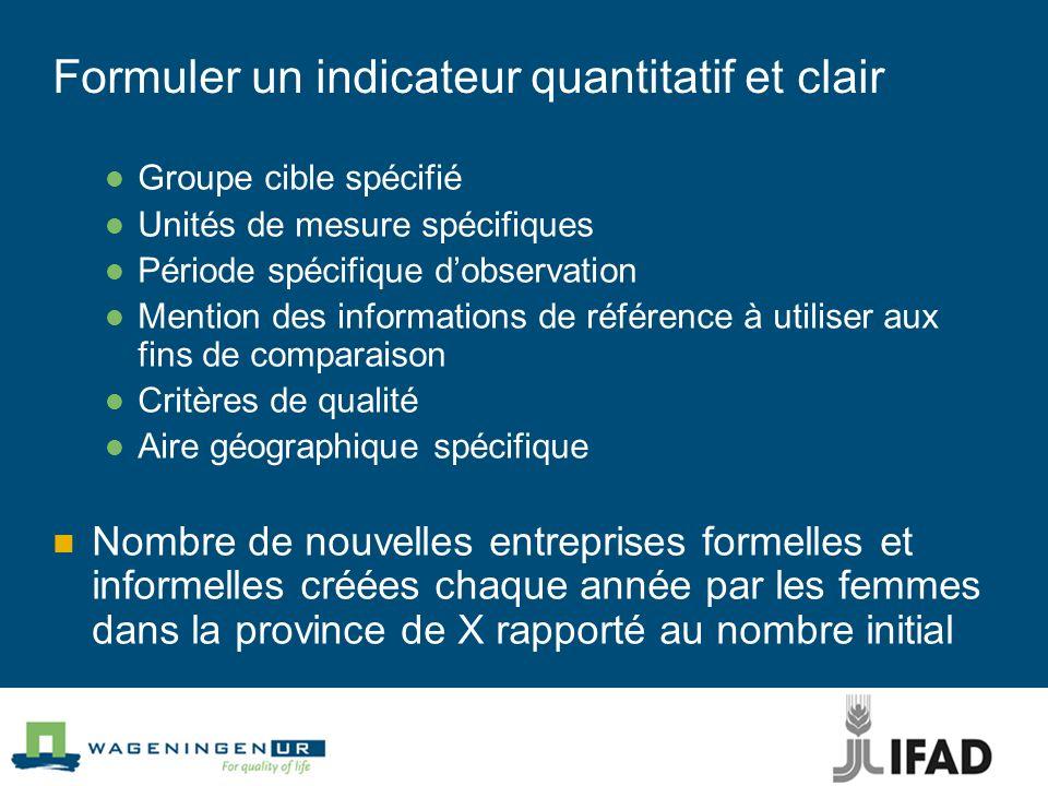 Formuler un indicateur quantitatif et clair