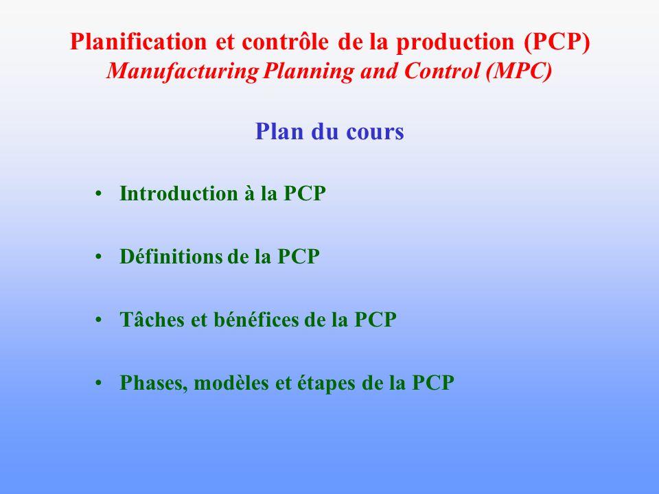 Planification et contrôle de la production (PCP) Manufacturing Planning and Control (MPC) Plan du cours
