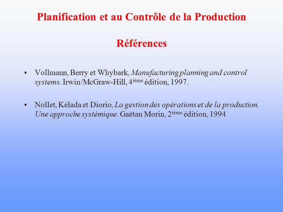 Planification et au Contrôle de la Production Références