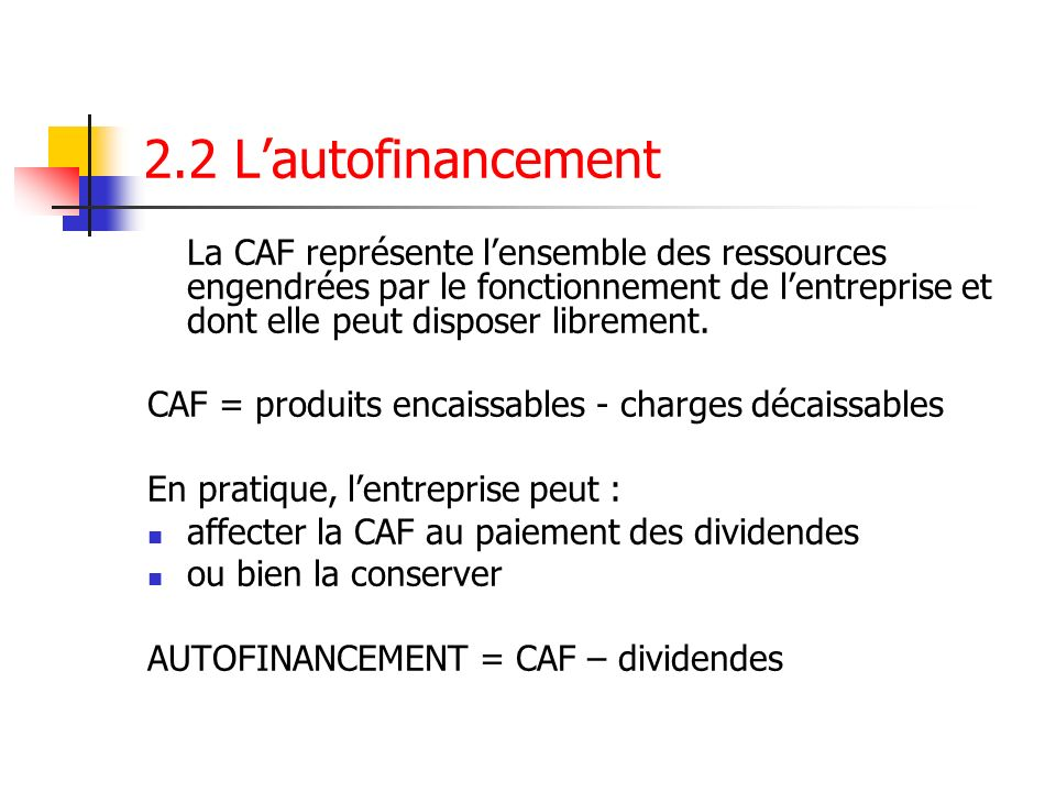 2.2 L'autofinancement