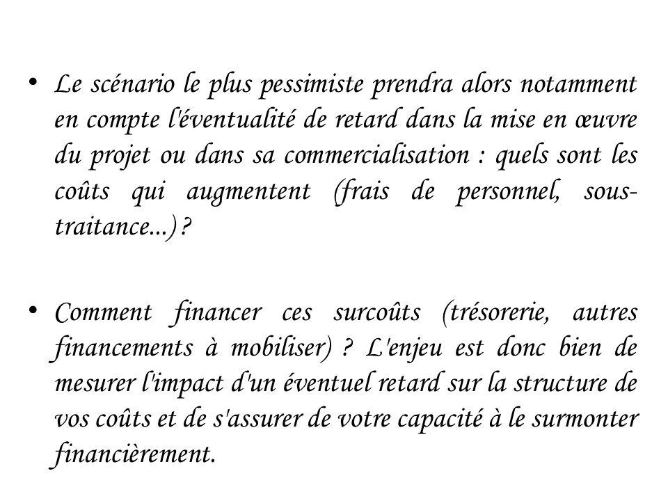 Le scénario le plus pessimiste prendra alors notamment en compte l éventualité de retard dans la mise en œuvre du projet ou dans sa commercialisation : quels sont les coûts qui augmentent (frais de personnel, sous-traitance...)