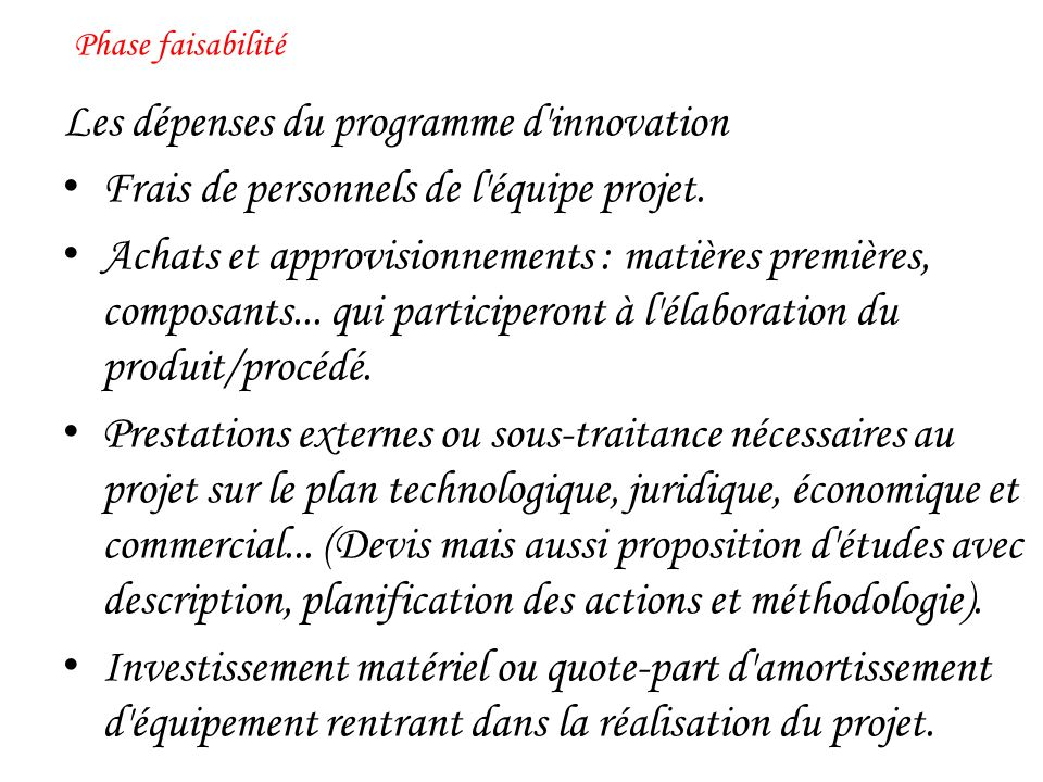 Les dépenses du programme d innovation