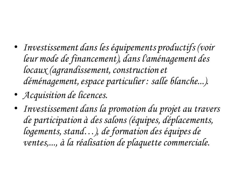 Investissement dans les équipements productifs (voir leur mode de financement), dans l aménagement des locaux (agrandissement, construction et déménagement, espace particulier : salle blanche...).