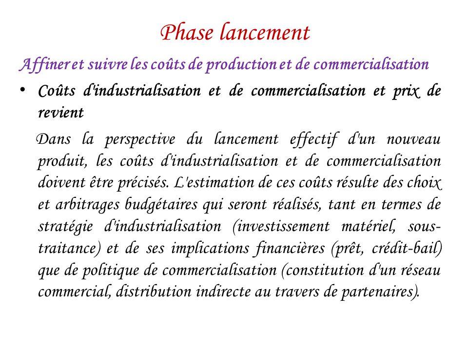 Phase lancement Affiner et suivre les coûts de production et de commercialisation.