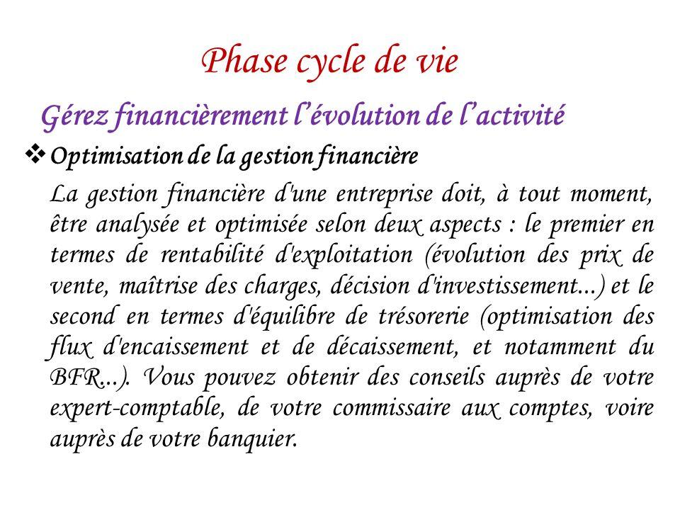 Phase cycle de vie Gérez financièrement l'évolution de l'activité