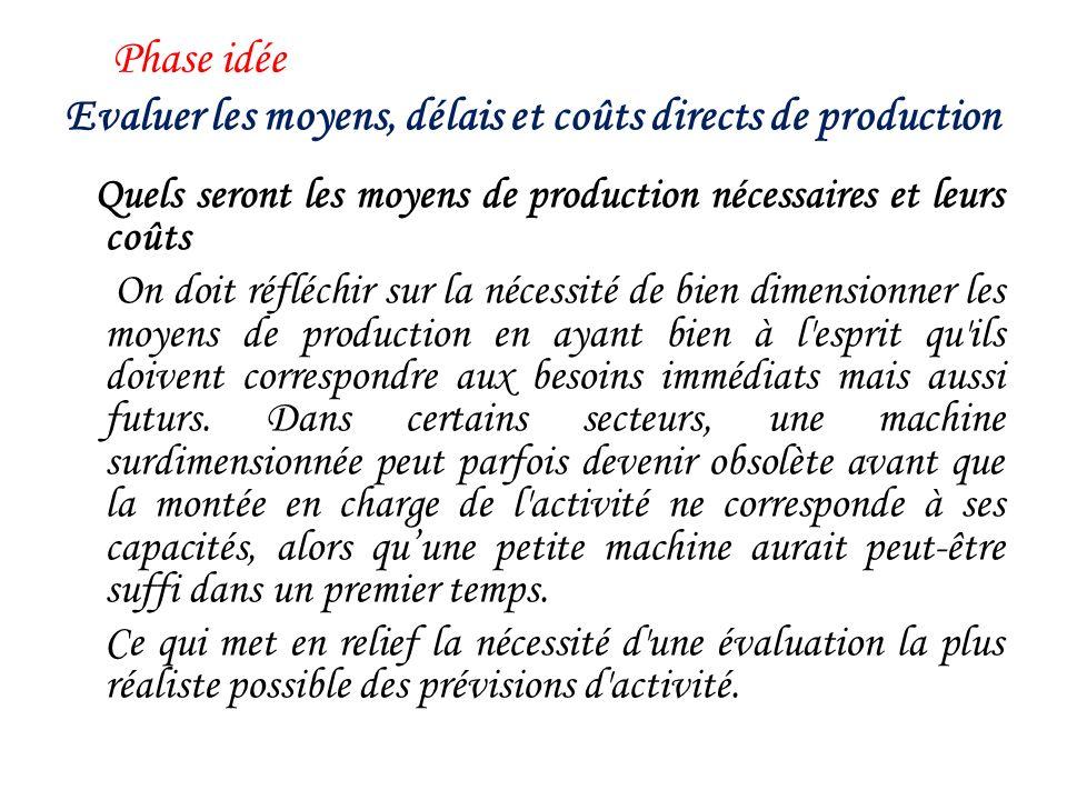 Evaluer les moyens, délais et coûts directs de production