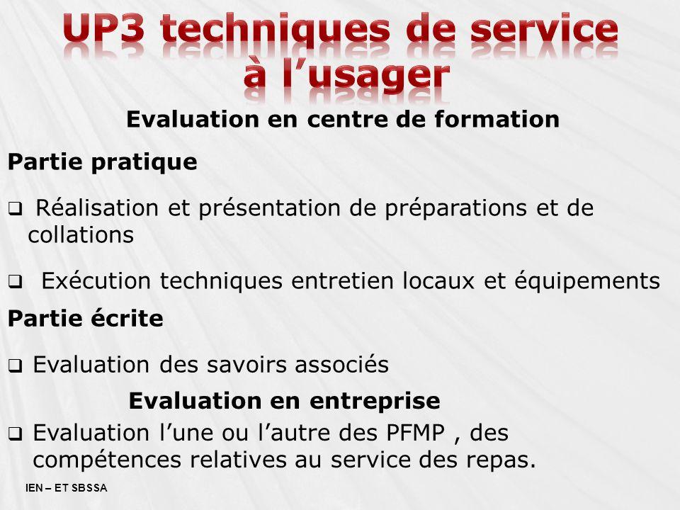 Up3 techniques de service Evaluation en centre de formation