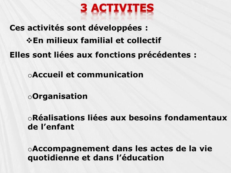3 activites Ces activités sont développées :