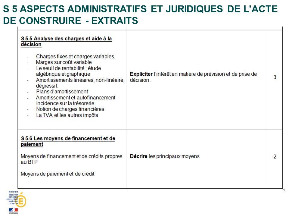 S 5 Aspects administratifs et juridiques de l'acte de construire - extraits