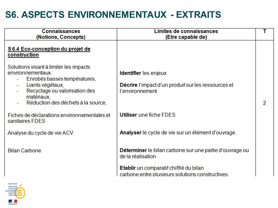 S6. Aspects environnementaux - extraits