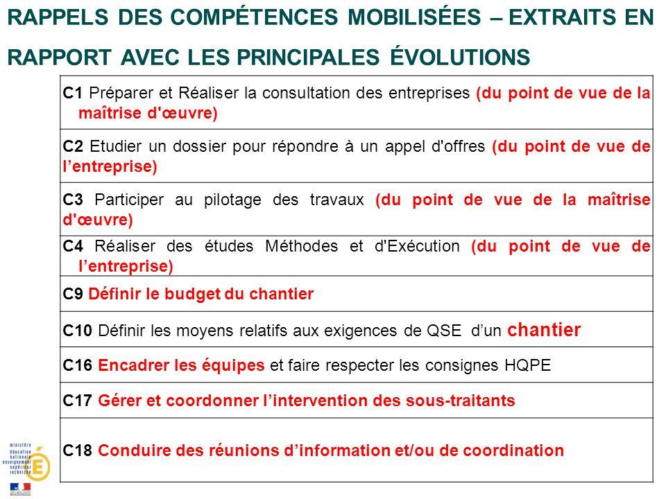Rappels des compétences mobilisées – Extraits en rapport avec les principales évolutions