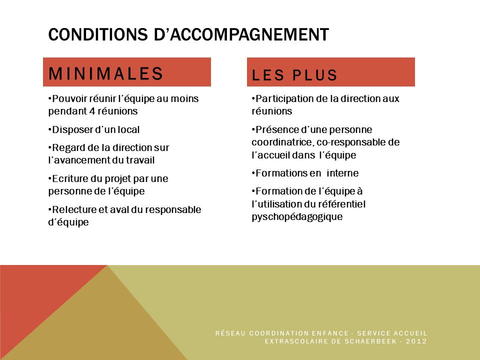 CONDITIONS D'ACCOMPAGNEMENT