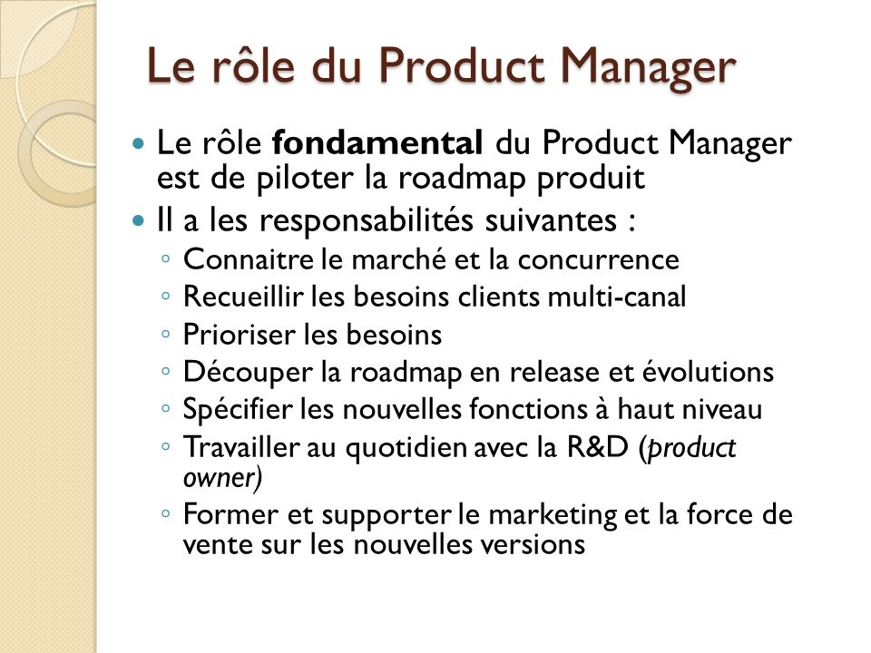 Le rôle du Product Manager