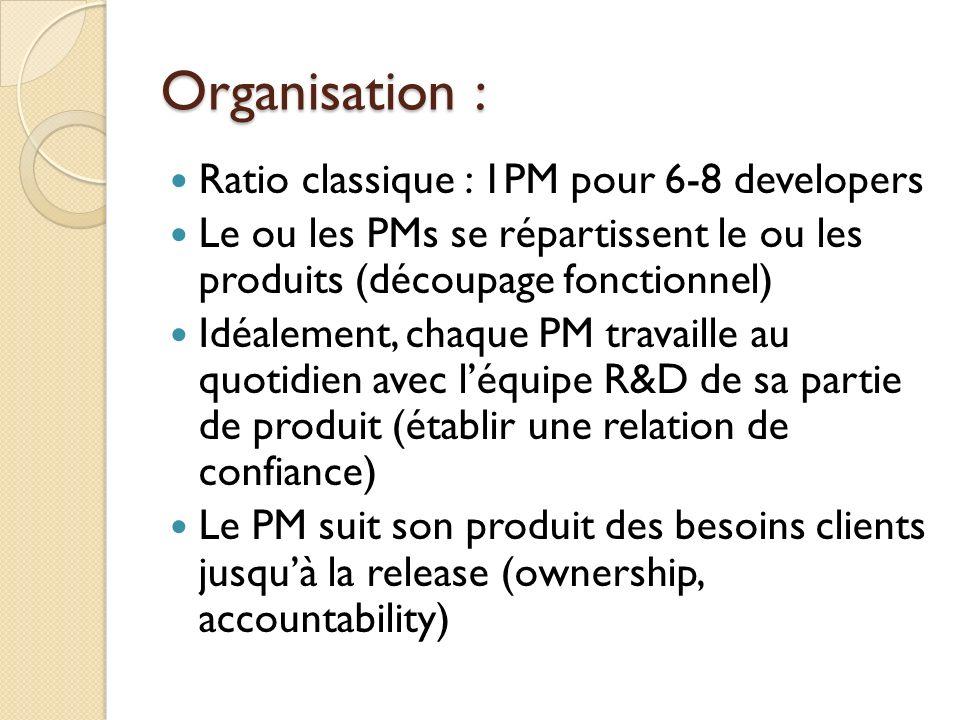 Organisation : Ratio classique : 1PM pour 6-8 developers