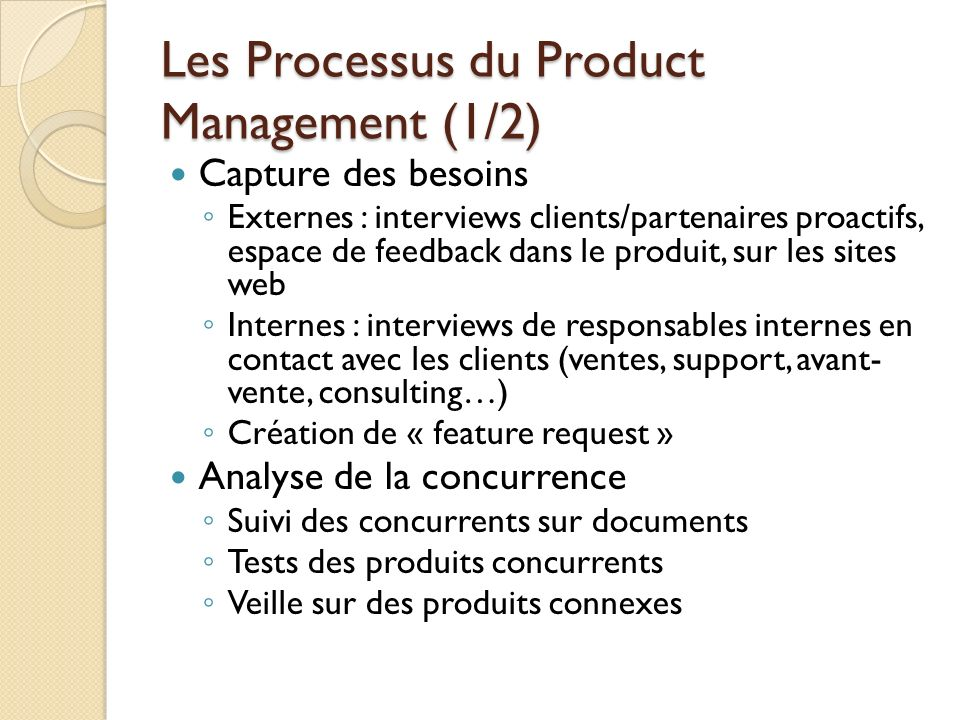 Les Processus du Product Management (1/2)