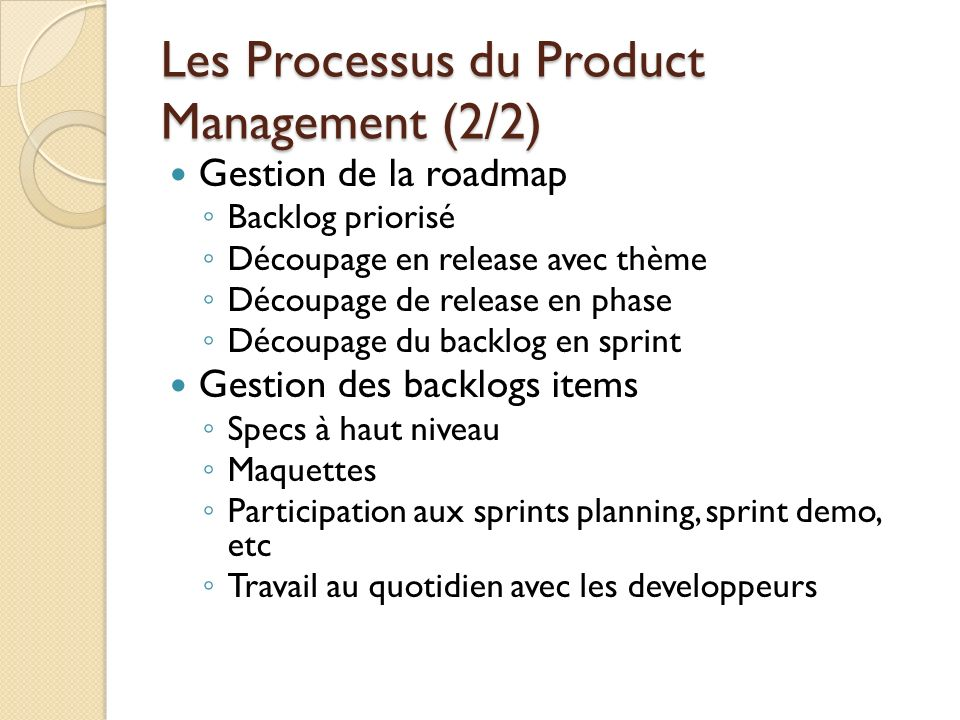 Les Processus du Product Management (2/2)