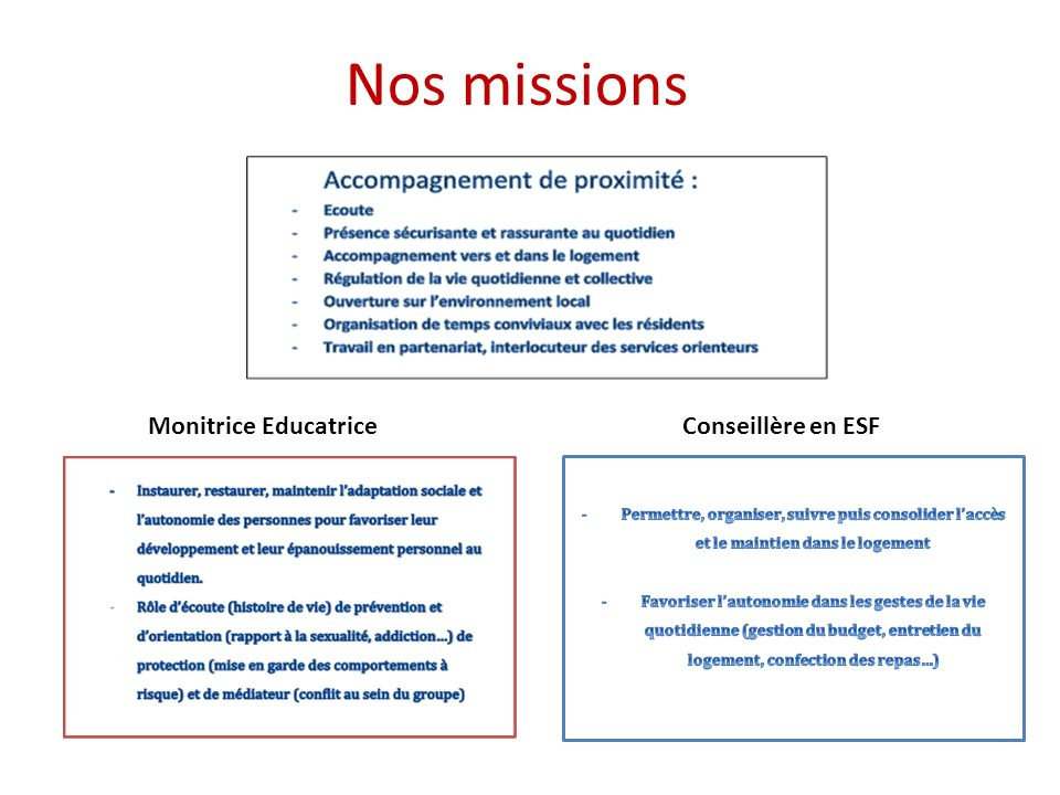 Nos missions Monitrice Educatrice Conseillère en ESF