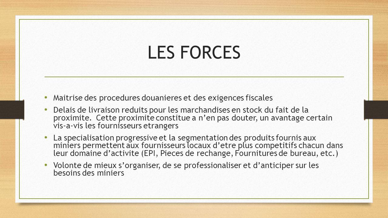 LES FORCES Maitrise des procedures douanieres et des exigences fiscales.