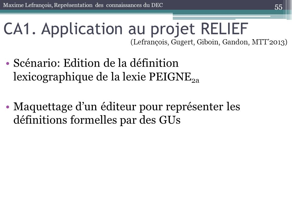 CA1. Application au projet RELIEF
