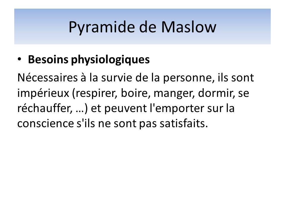Pyramide de Maslow Besoins physiologiques