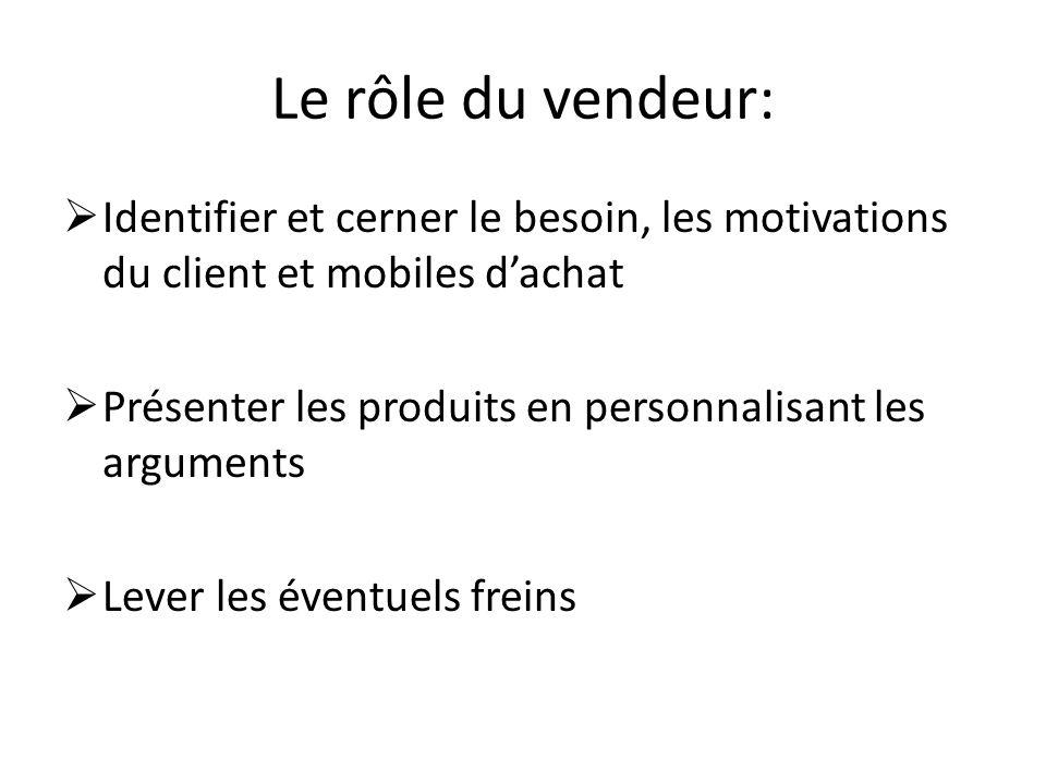 Le rôle du vendeur: Identifier et cerner le besoin, les motivations du client et mobiles d'achat.