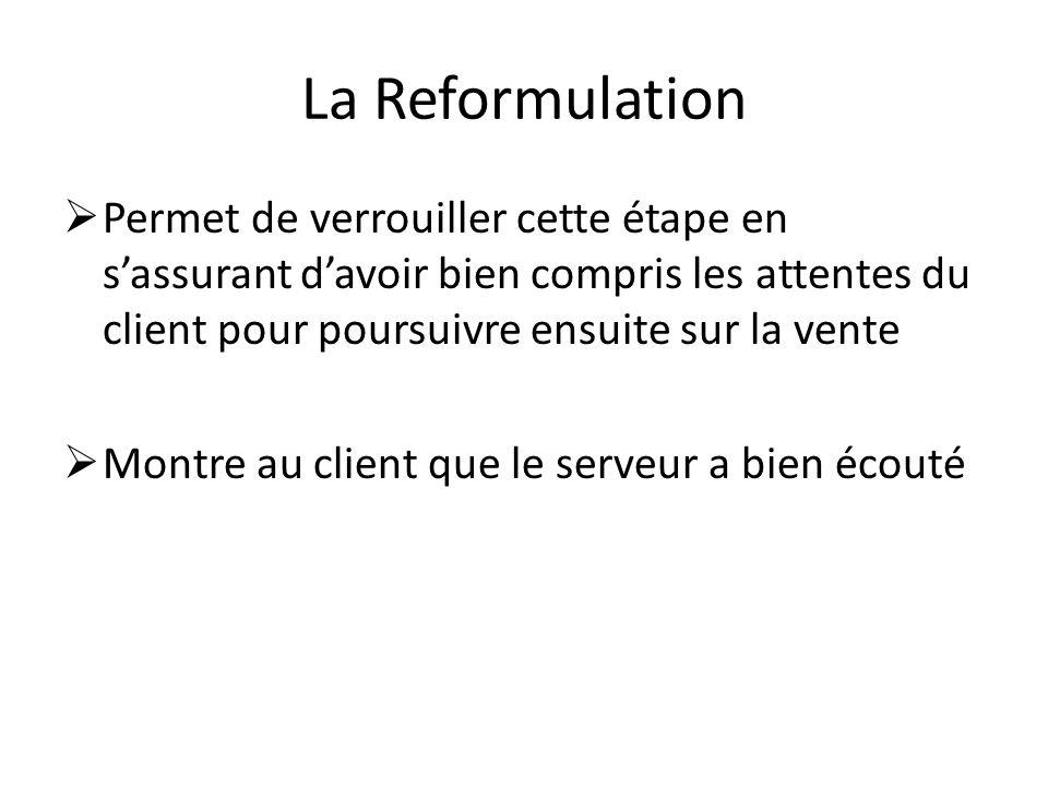 La Reformulation Permet de verrouiller cette étape en s'assurant d'avoir bien compris les attentes du client pour poursuivre ensuite sur la vente.