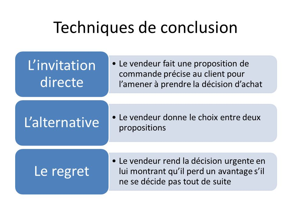 Techniques de conclusion