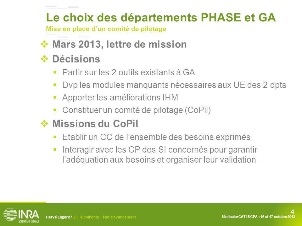 Le choix des départements PHASE et GA